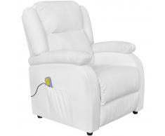 vidaXL Poltrona Massaggio Elettrica Reclinabile in Similpelle Bianca
