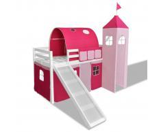 vidaXL Letto con scala principessa rosa bianco telaio in legno castello