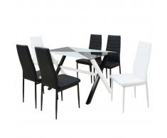 vidaXL Set 7 pezzi Tavolo e Sedie da Pranzo in Pelle Artificiale
