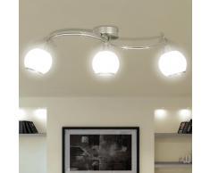 vidaXL Lampada da soffitto lampadario in vetro per 3 lampadine E14