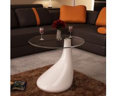 vidaXL Tavolino salotto moderno vetro design bianco a goccia