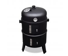 vidaXL Barbecue griglia a legna e carbonella, affumicatore