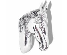 vidaXL Decorazione Testa Cavallo Ganci a Parete Alluminio Argentato