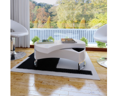 vidaXL Tavolino forma regolabile bianco lucido