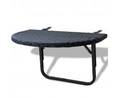 vidaXL Tavolino da Balcone Poli Rattan Nero