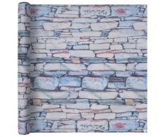 vidaXL Paravento da Balcone Tessuto Oxford 90x600cm Stampa Muro Pietra