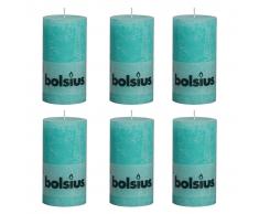 Bolsius Candela rustica per celebrazioni Blu oceano 130/68 Set 6 pz