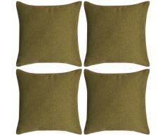 vidaXL Set 4 Federe per Cuscini in Simil-Lino Verde 80x80 cm