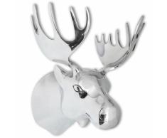 vidaXL Decorazione Testa Alce con Ganci a Parete Alluminio Argentato