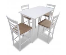 Set Tavolo da Bar in Legno Bianco e 4 Sedie da Bar