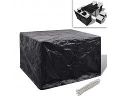 vidaXL Set mobili in polirattan 1 tavolo 4 sedie poggiapiedi nero
