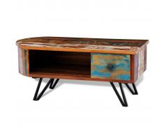 vidaXL Tavolino da caffè in legno anticato massello gambe di ferro con perni