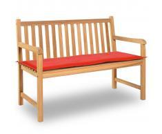 vidaXL Cuscino per Panca da Giardino Rosso 120x50x3 cm