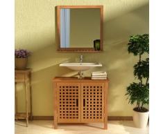 vidaXL Mobiletto per Lavello in Legno Massello di Noce con Specchio