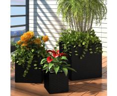 vidaXL Set 3 fioriere quadrate da giardino in rattan nero