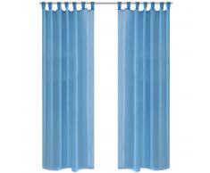 Tenda Trasparente Colore Turchese 140 x 245 cm 2 pezzi