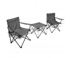 vidaXL Set da campeggio 1 tavolo e 2 sedie grigio