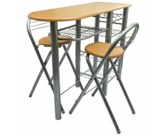 vidaXL Tavolo da cucina con sedie set in legno