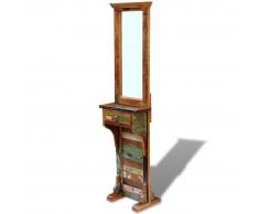 vidaXL Legno Massello di Recupero Specchio da Salone 47x23x180 cm