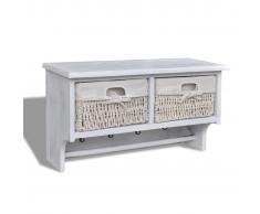 Mensola in legno bianco con appendiabiti 2 cesti di tessitura 4 Ganci