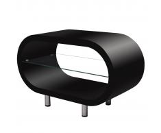 Tavolino Caffè Brillante Nero / Supporto TV Ovale