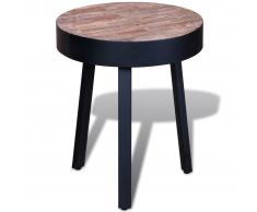 Tavolino laterale in legno anticato di teak