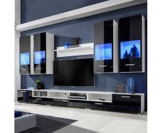 Set 8 mobili con vetrina nero brillante unità TV e luci blu a LED