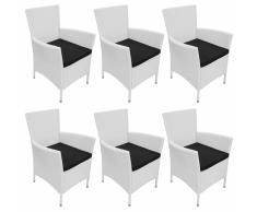 vidaXL 6 Pz Set Sedie da Giardino in Polyrattan Bianco Crema