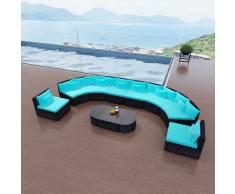 vidaXL Divano da Giardino Set 13 Pz in Polyrattan Blu Tropicale