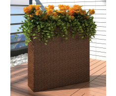 vidaXL Set Fioriera rettangolare da giardino in rattan marrone