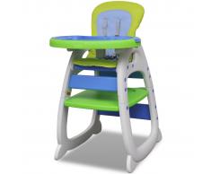 Seggiolone convertibile per bambini 3-in-1 blu e verde