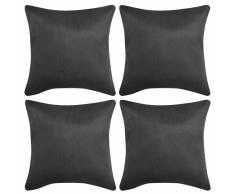 vidaXL Fodere Cuscino 4 pezzi 80x80 cm Poliestere Tessuto Scamosciato Antracite