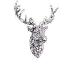 vidaXL Decorazione Testa Cervo con Ganci a Parete Alluminio Argentato