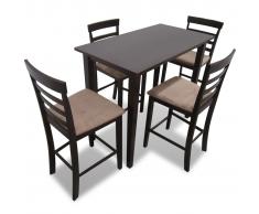 Set Tavolo da Bar in Legno Marrone e 4 Sedie da Bar