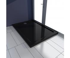 vidaXL Piatto doccia rettangolare in ABS nero 70 x 100 cm