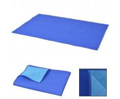 vidaXL Coperta da Picnic Blu e Celeste 100x150 cm