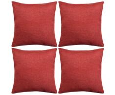 vidaXL Set 4 Federe per Cuscini in Simil-Lino Rosso Borgogna 40x40 cm