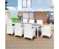 vidaXL 17 Pz Set Sedie/Tavolo da Giardino in Polirattan Bianco Crema