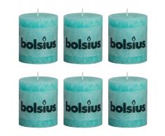 Bolsius Candela rustica per celebrazioni Blu oceano 80/68 Set 6 pz