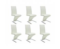 vidaXL 6 pz Set Sedie da Pranzo in Pelle Artificiale Bianca