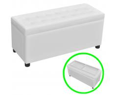 Cassapanca in pelle artificiale bianco con seduta trapuntata