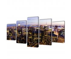 5 pz Set Stampa su Tela da Muro Vista dall'Alto su New York 200x100 cm
