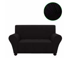 vidaXL Copridivano elastico fodera nera in poliestere jersey