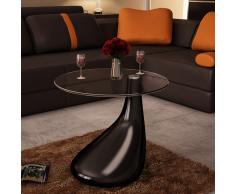vidaXL Tavolino salotto moderno vetro design nero a goccia