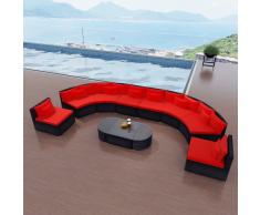 vidaXL Divano da Giardino Set in Polirattan Rosso