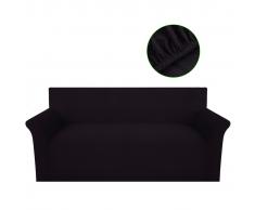 vidaXL Copridivano Fodera divano 3 posti elastico poliestere marrone