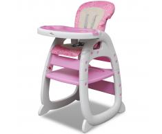 vidaXL Seggiolone convertibile per bambini 3-in-1 rosa
