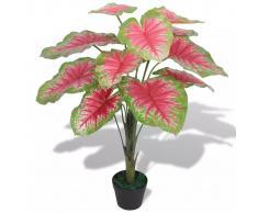 vidaXL Caladio Pianta Artificiale con Vaso 70 cm Verde e Rosso