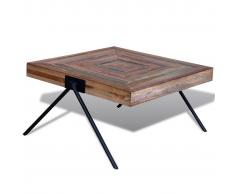 Tavolino per cafè con gambe a V in legno anticato di teak