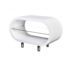 Tavolino Caffè Brillante Bianco / Supporto TV Ovale